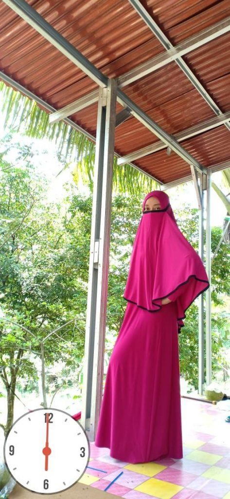 Jual Jilbab Masker 3 in 1 Bahan Jersey Ukuran L Warna Pink